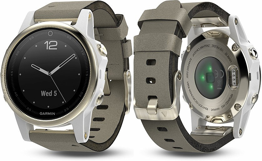 Garmin Fenix 5 S Champagne​​​​​​​ Sapphire Goldtone Optic Suede Band s GPS