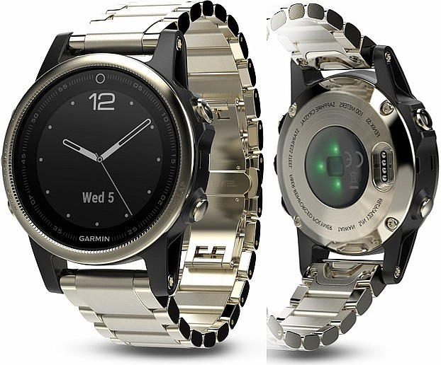 Garmin Fenix 5 S Sapphire Goldtone Optic Metal Band s GPS