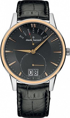 Claude Bernard Classic 34004 357R GIR Big Date Retrograde Day
