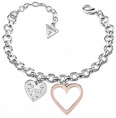 Guess UBB84037-S náramek HEART IN HEART (Bracelet - silver / rose gold)